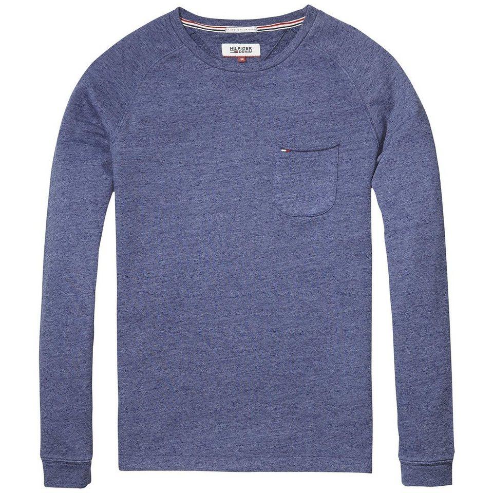 Hilfiger Denim Sweatshirt »THDM CN HKNIT L/S 36« in Mid Blue htr