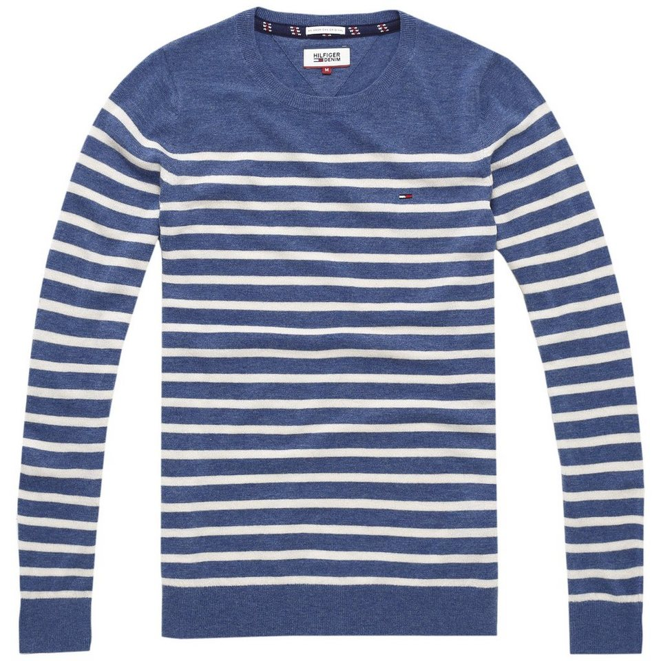 Hilfiger Denim Pullover »THDM BASIC CN SWEATER L/S 10« in Mid Blue / Oatmeal