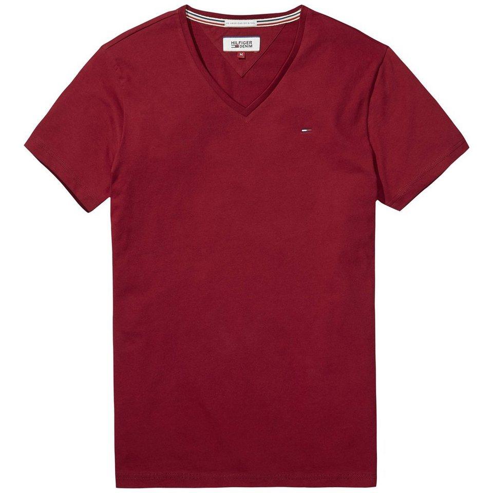 Hilfiger Denim T-Shirt (kurzarm) »THDM BASIC VN KNIT S/S 2« in Rhubarb