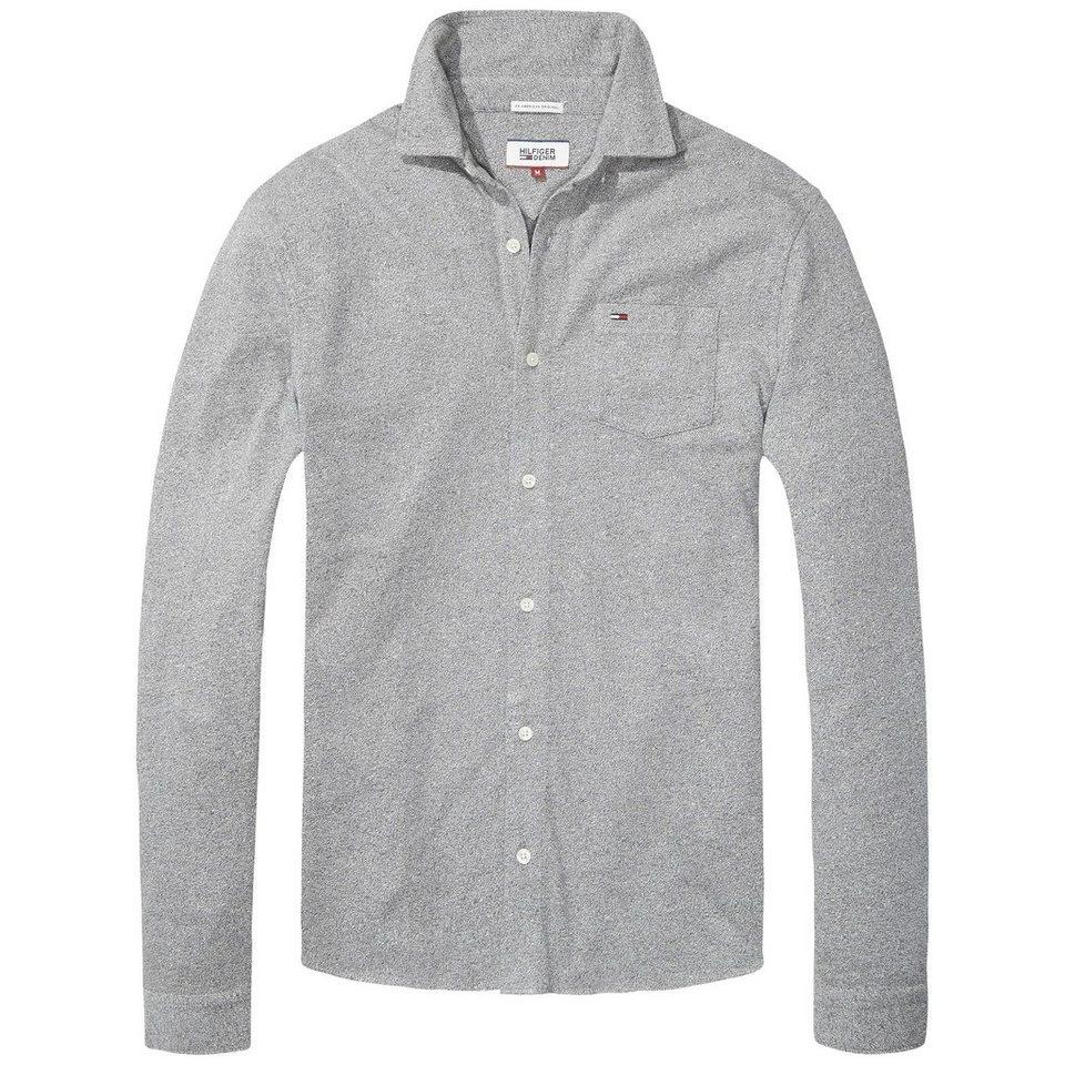 Hilfiger Denim T-Shirt (langarm) »THDM BUTTON THRU KNIT L/S 12« in Deep grey htr