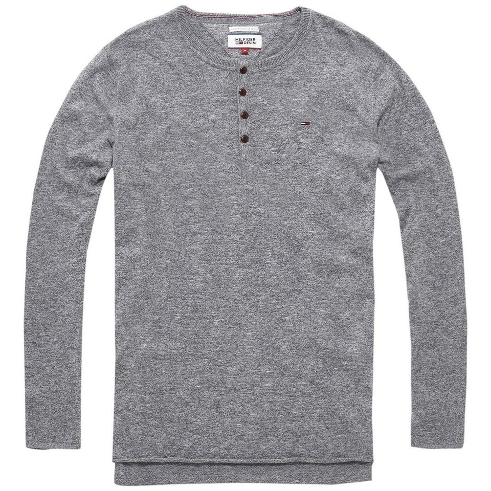 Hilfiger Denim Pullover »THDM HENLEY SWEATER L/S 6« in Lt grey htr