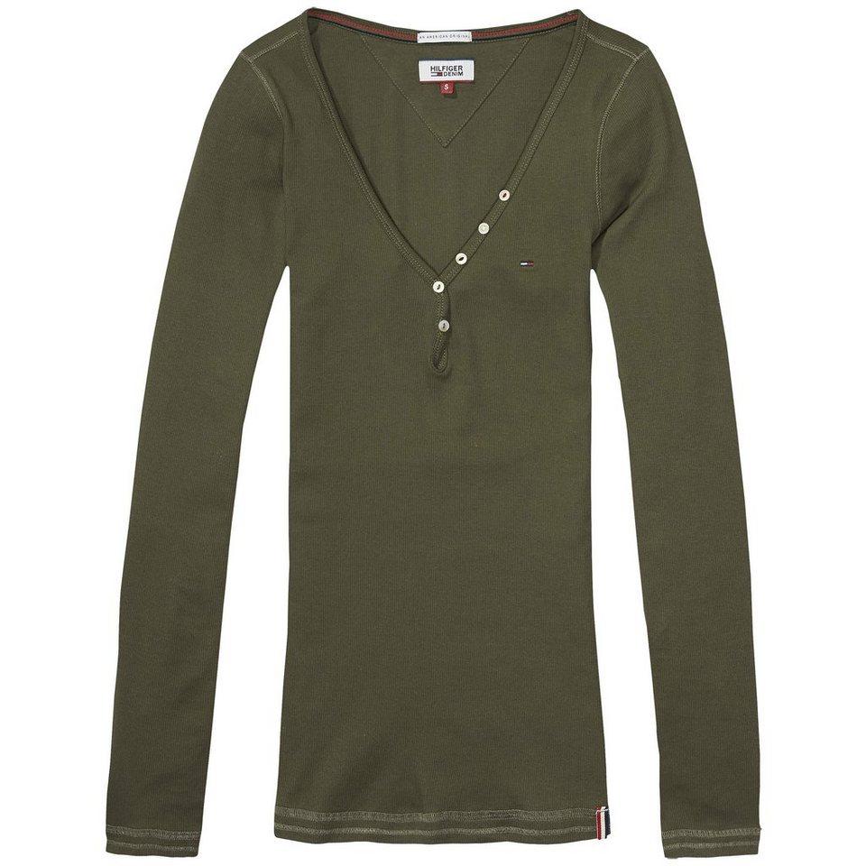 Hilfiger Denim Langarmshirt »THDW BASIC VN HENLEY L/S 3« in Grape Leaf