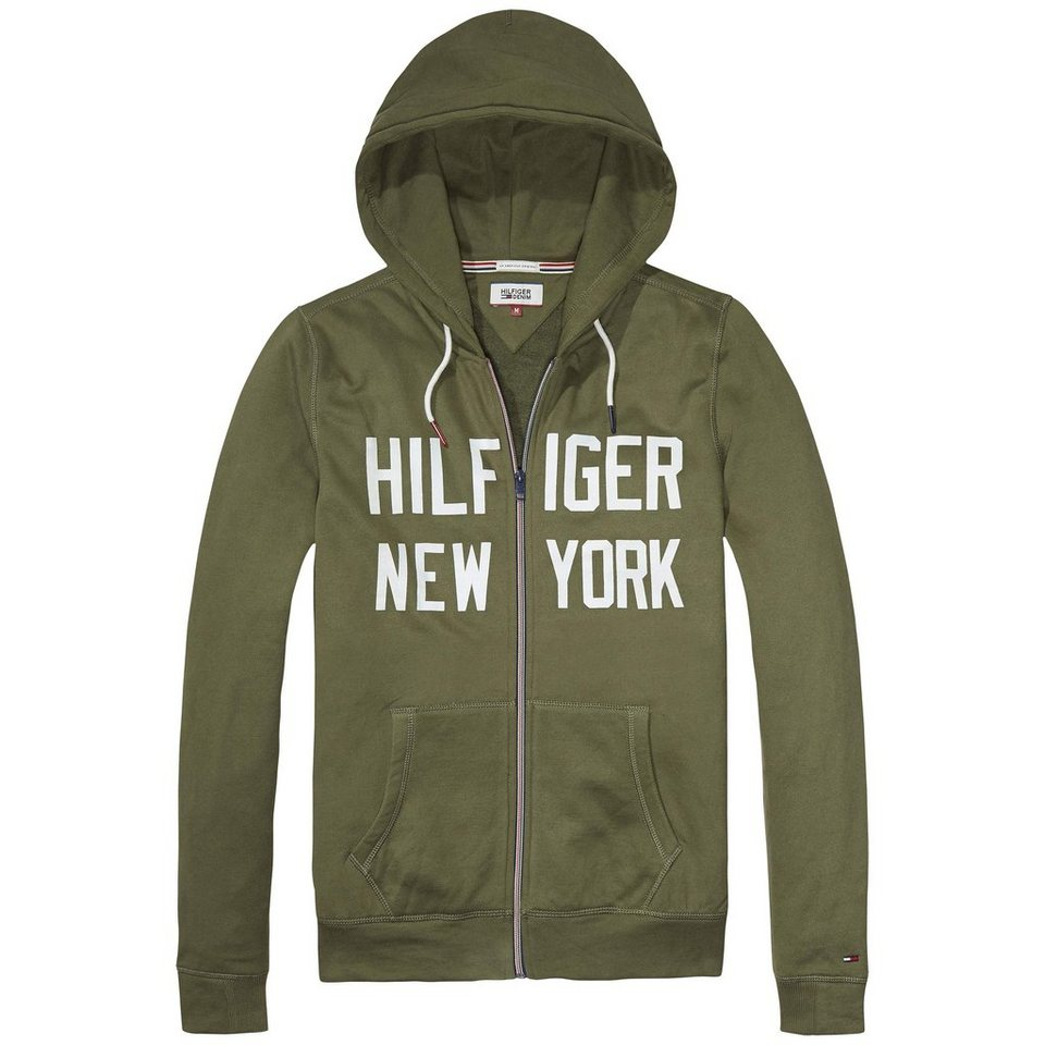 Hilfiger Denim Sweatshirt »THDM BASIC HD ZIPTHRU L/S 2« in Olive Night