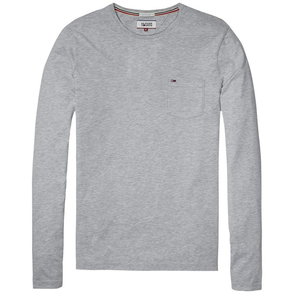 Hilfiger Denim T-Shirt (langarm) »THDM BASIC CN KNIT L/S 4« in Lt grey htr