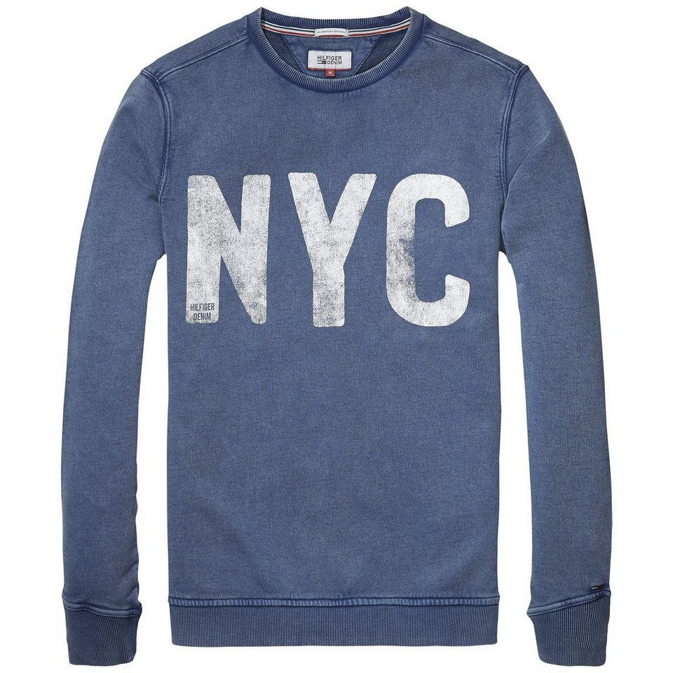 Hilfiger Denim Sweatshirt »THDM BASIC CN HKNIT L/S 7« in Blue Wing Teal