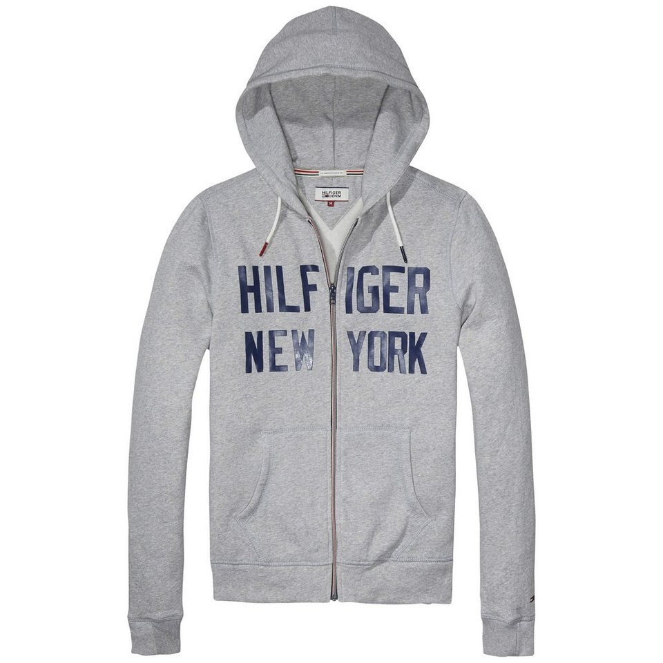 Hilfiger Denim Sweatshirt »THDM BASIC HD ZIPTHRU L/S 2« in Lt grey htr