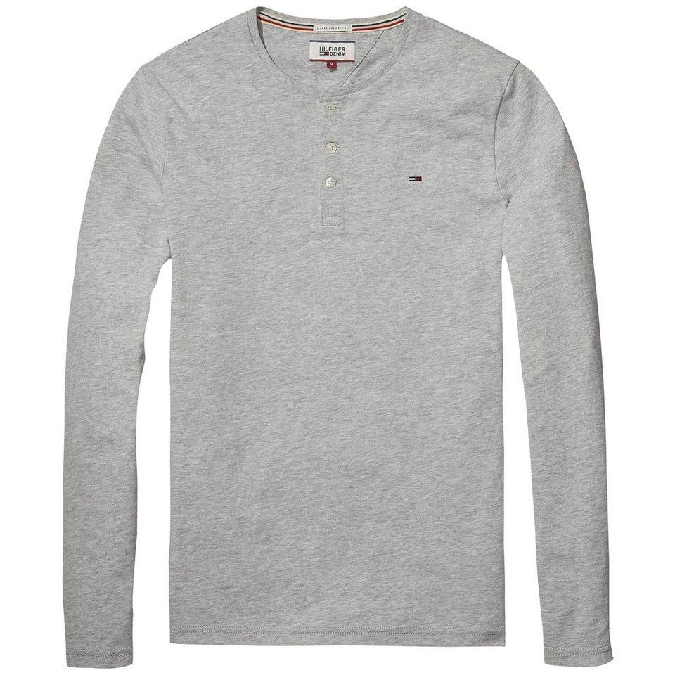Hilfiger Denim T-Shirt (langarm) »THDM BASIC HENLEY KNIT L/S 6« in Lt grey htr
