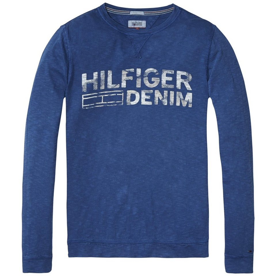 Hilfiger Denim T-Shirt (langarm) »THDM BASIC CN T-SHIRT L/S 34« in Blue Wing Teal