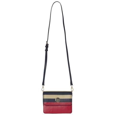 Tommy Hilfiger Handtasche »HONEY FLAP CROSSOVER STRIPE« in Midnight/RED/Oatmeal