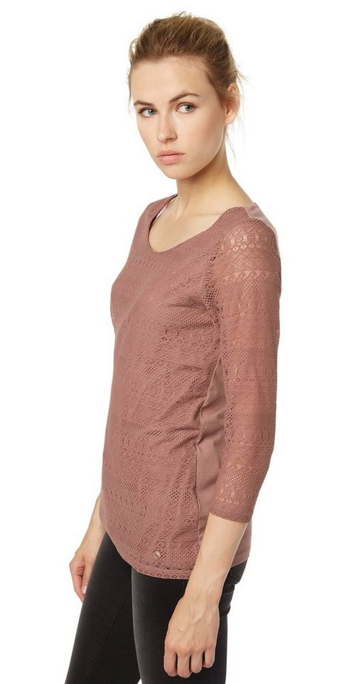 TOM TAILOR T-Shirt »Spitzen-Shirt« in washed mauve