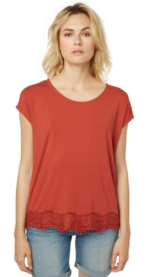 TOM TAILOR T-Shirt »verspieltes T-Shirt mit Spitzensaum« in velvet red