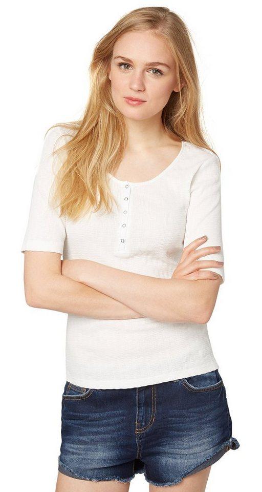 TOM TAILOR DENIM T-Shirt »rib henley shirt« in off white
