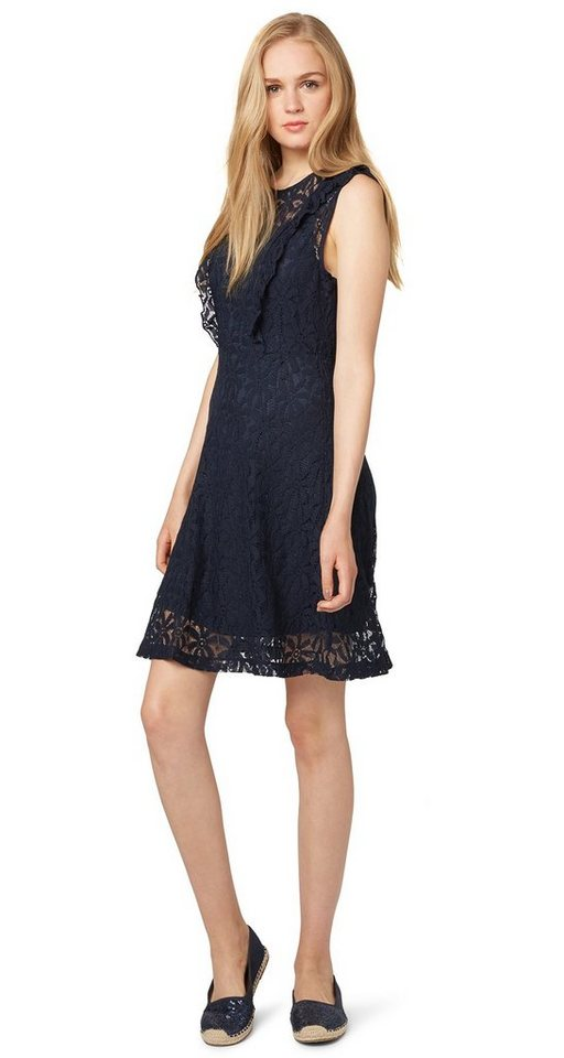 TOM TAILOR DENIM Kleid »Spitzen-Kleid mit Rüschen-Details« in sky captain blue