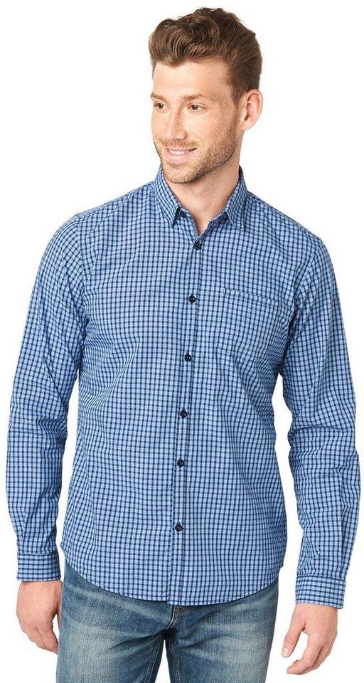 TOM TAILOR Hemd »klassisches Karo-Hemd« in federal blue