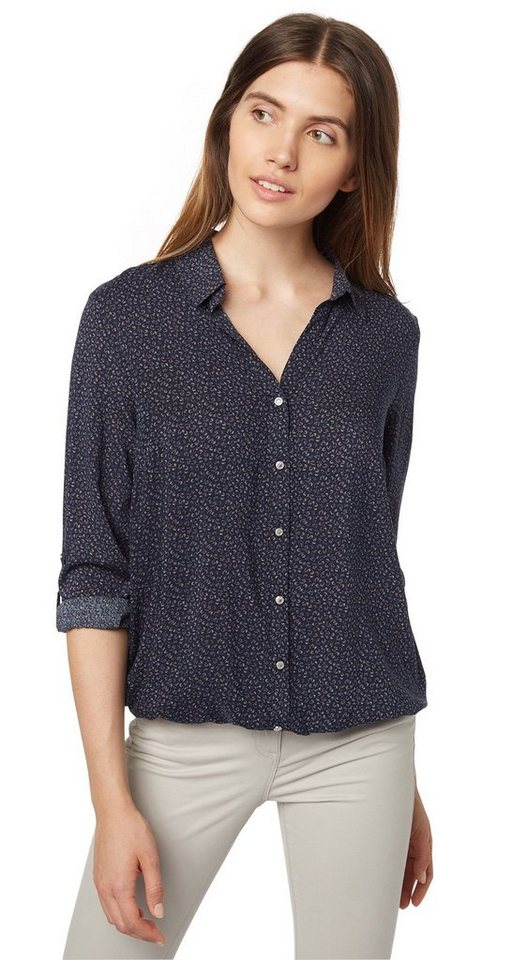 TOM TAILOR Bluse »lovely printed viscose blouse« in real navy blue