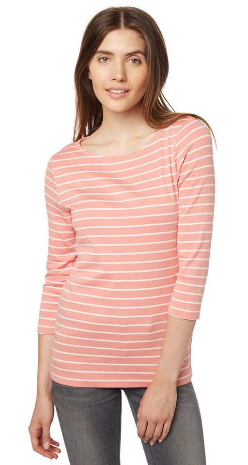 TOM TAILOR T-Shirt »maritimes Streifenshirt mit 3/4 Arm« in Peach Blush