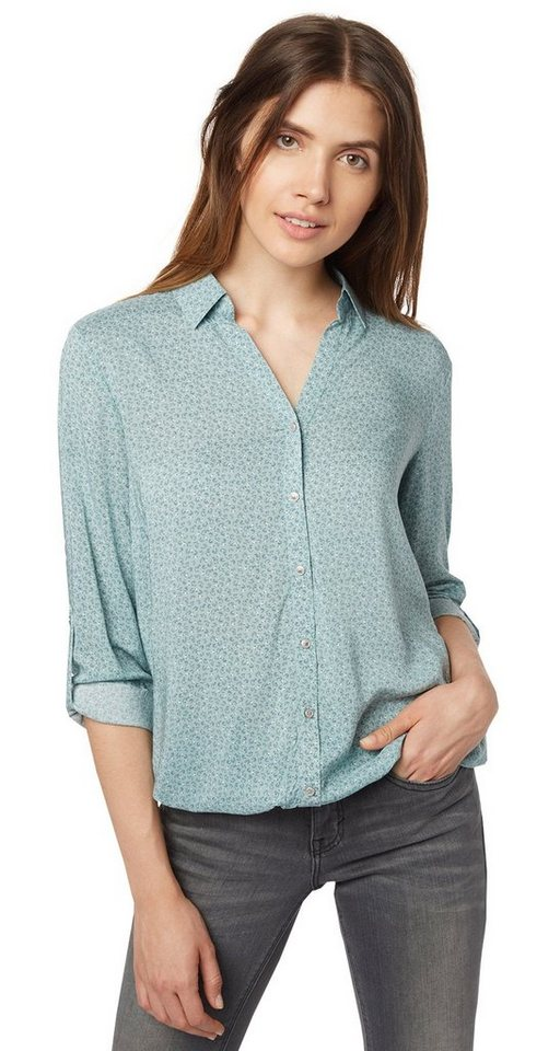 TOM TAILOR Bluse »feminine Bluse mit Muster« in Light Mineral Blue