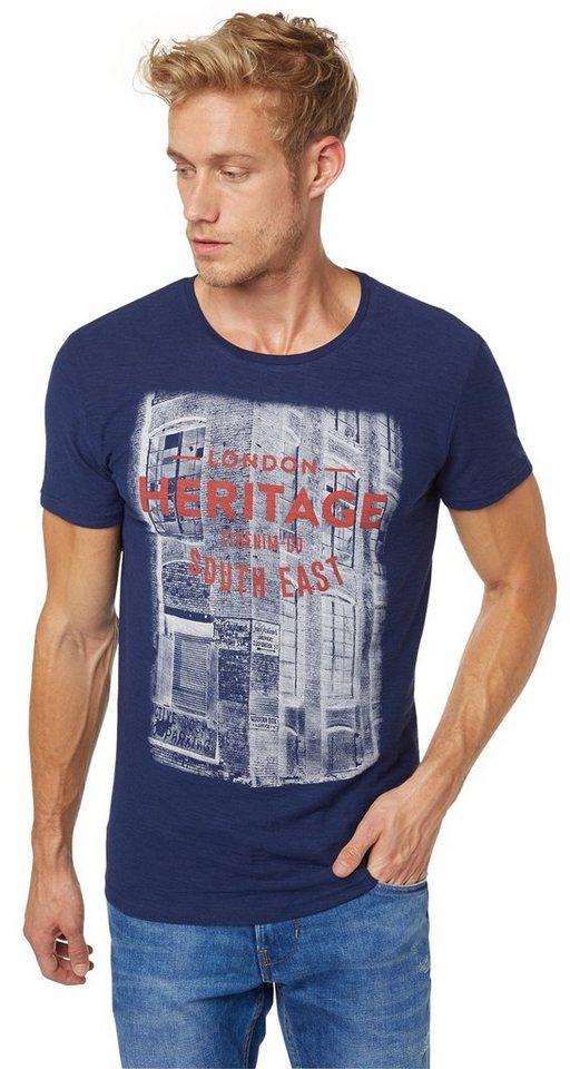 TOM TAILOR DENIM T-Shirt »heritage wording tee« in cosmos blue
