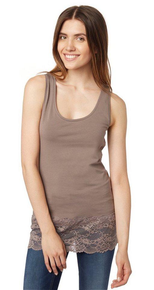 TOM TAILOR T-Shirt »Top mit breitem Spitzensaum« in Dusty Iron Grey