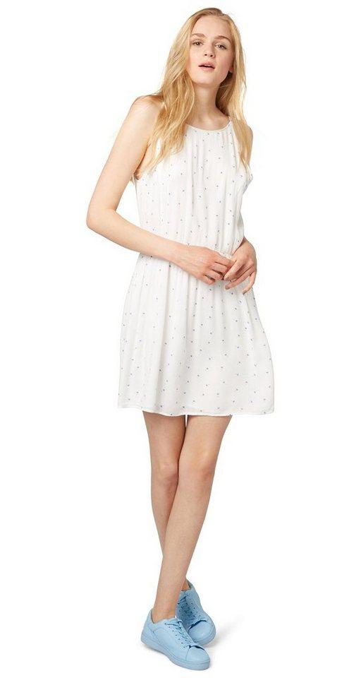TOM TAILOR DENIM Kleid »sommerliches Print-Kleid« in off white