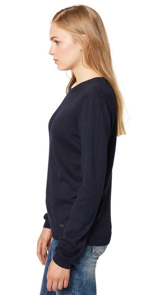 TOM TAILOR DENIM Pullover »schlichter Pullover« in dark navy blue melan