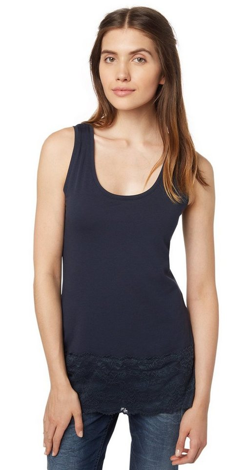 TOM TAILOR T-Shirt »Top mit breitem Spitzensaum« in real navy blue