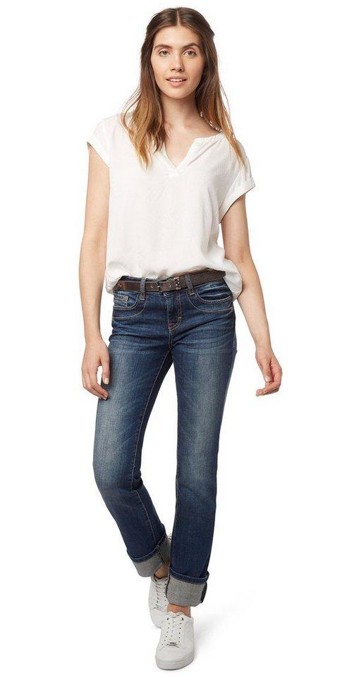 TOM TAILOR Jeans »Jeans mit Gürtel« in stone blue denim