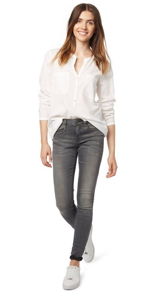 TOM TAILOR Jeans »Used-Jeans mit Crinkles« in grey denim