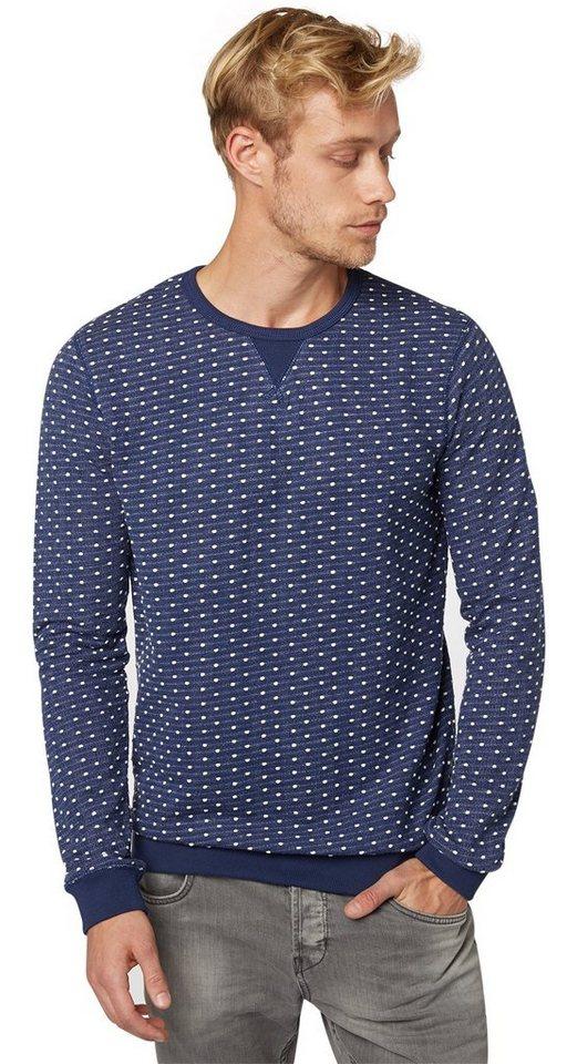 TOM TAILOR DENIM Sweatshirt »strukturierter Sweater« in cosmos blue