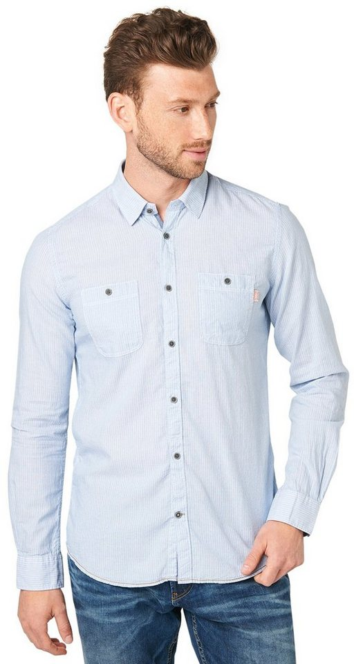 TOM TAILOR Hemd »sommerliches Panama-Hemd« in dark celeste blue