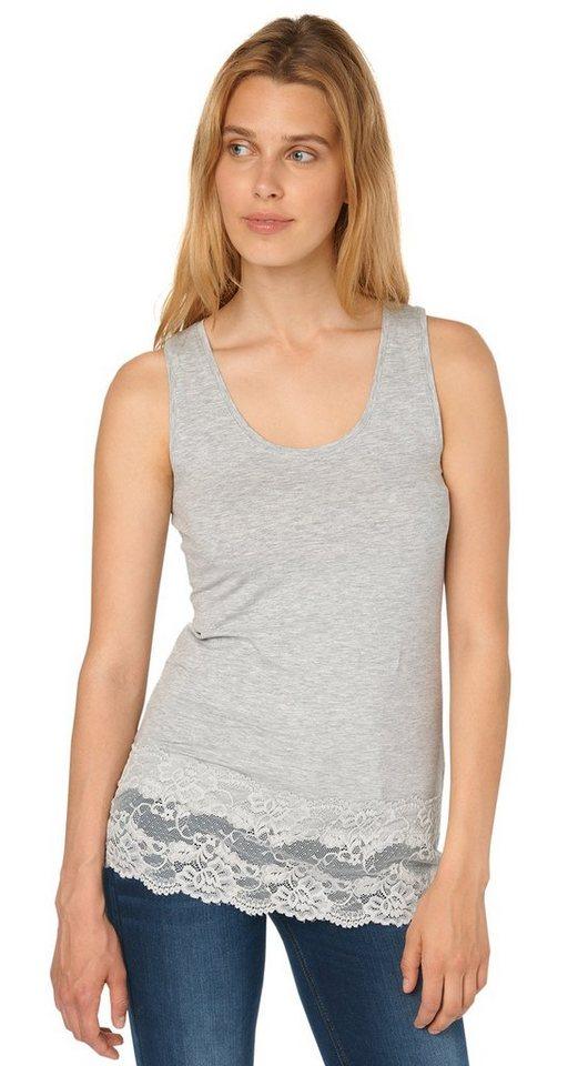 TOM TAILOR T-Shirt »langes Top mit breiter Spitzenkante« in light silver melange