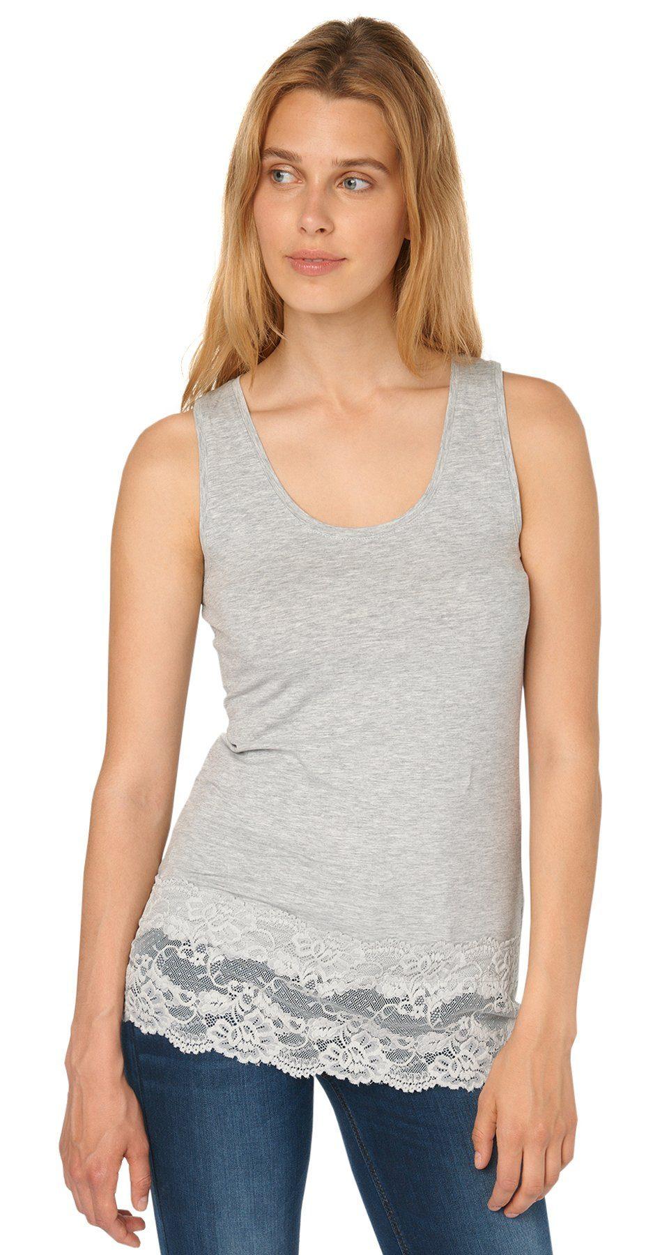 TOM TAILOR T-Shirt »langes Top mit breiter Spitzenkante«