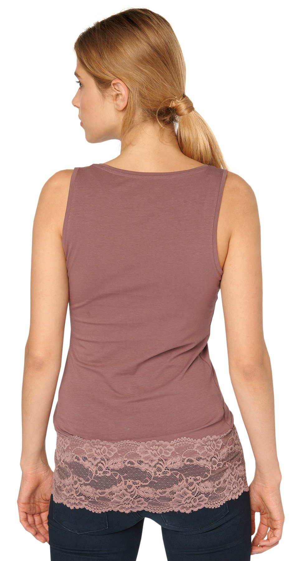 TOM TAILOR T-Shirt »Top mit breitem Spitzensaum«