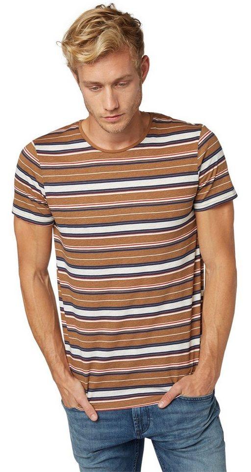 TOM TAILOR DENIM T-Shirt »gestreiftes T-Shirt im Retro-Style« in rich cinnamon