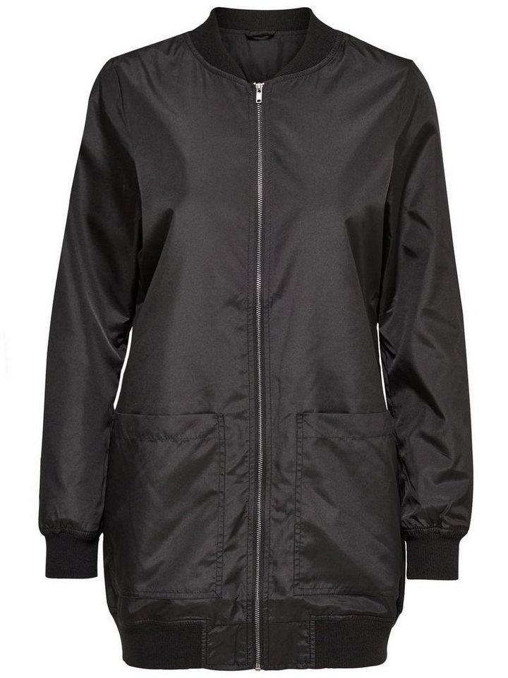 Only Langer Bomber- Jacke in Black