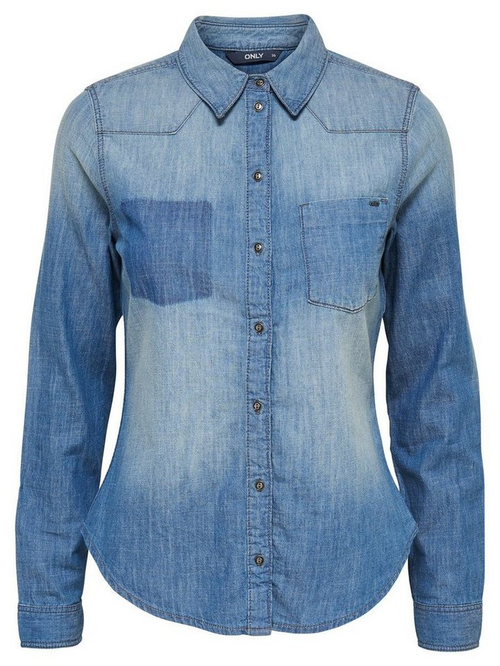 Only Patch- Jeanshemd in Medium Blue Denim