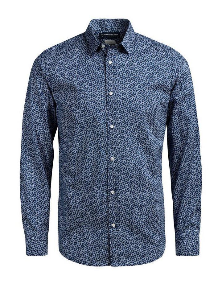 Jack & Jones Microprint- Langarmhemd in Navy Blazer