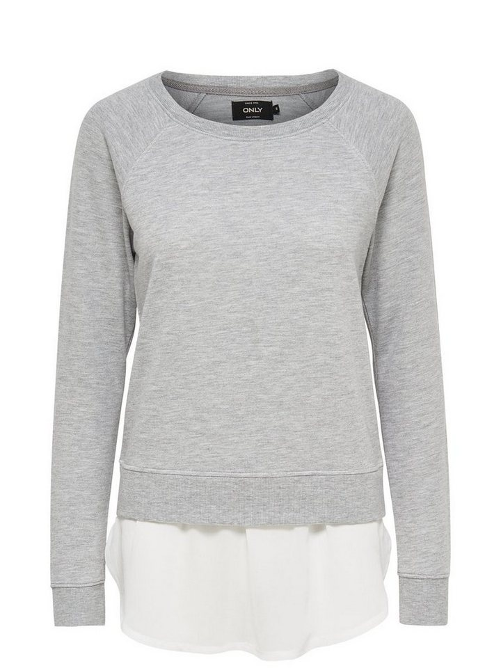 Only Detailliertes Sweatshirt in Light Grey Melange