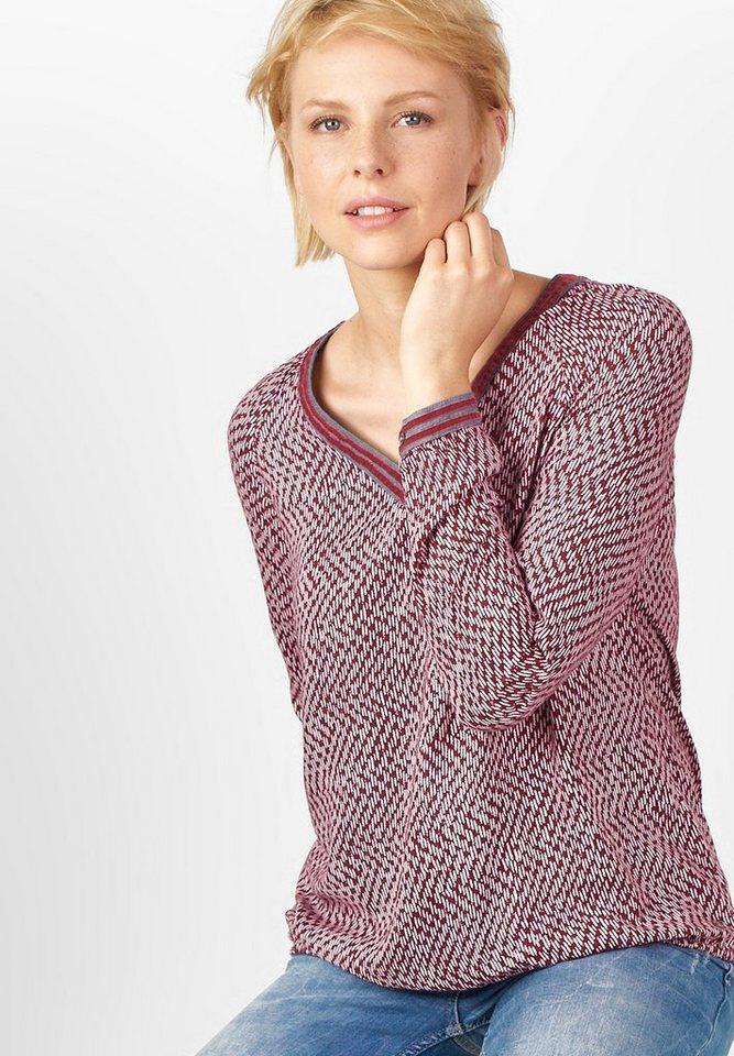 CECIL Minimalprint V-Neck Bluse in crimson red