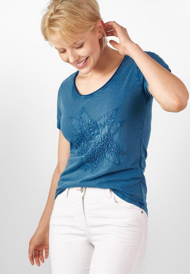 CECIL Acid-Wash Sternenshirt in celestial blue