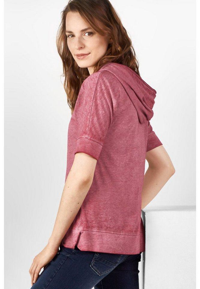 CECIL Basic 3/4-Arm Kapuzenshirt in crimson red