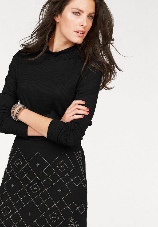 Aniston Rollkragenpullover in Rippjersey in schwarz