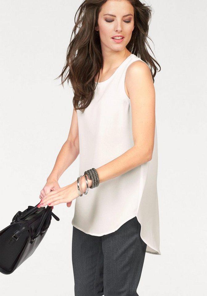 Aniston Blusentop im Vokuhila-Style in wollweiß
