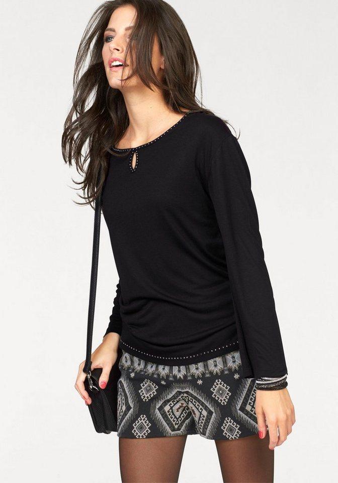 Aniston Langarmshirt mit Steinchen-Verzierung in schwarz