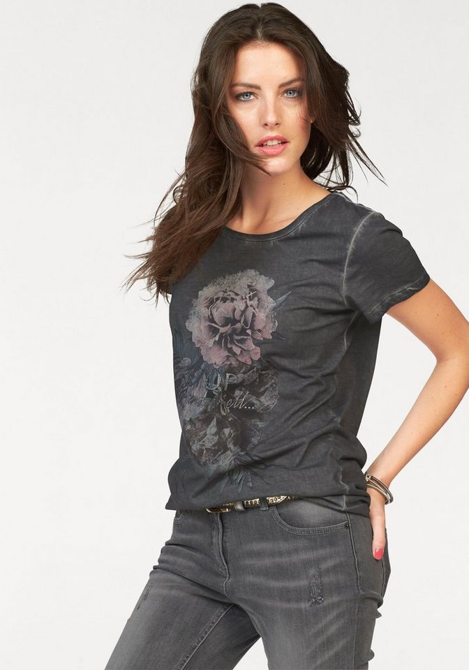 Aniston T-Shirt mit Oil dyed-Waschung in anthrazit