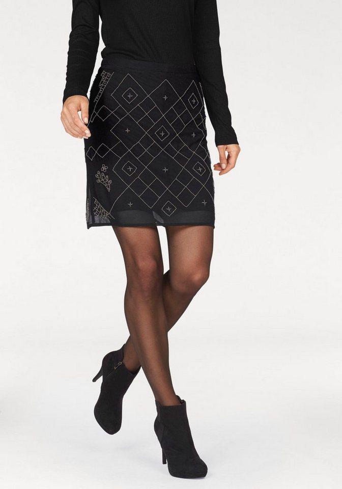 Aniston A-Linien-Rock mit Perlenstickerei in schwarz