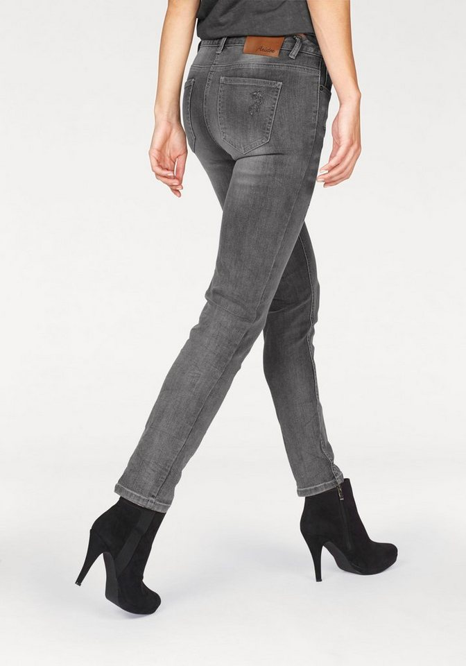 Aniston 5-Pocket-Jeans mit Crasheffekt in grey