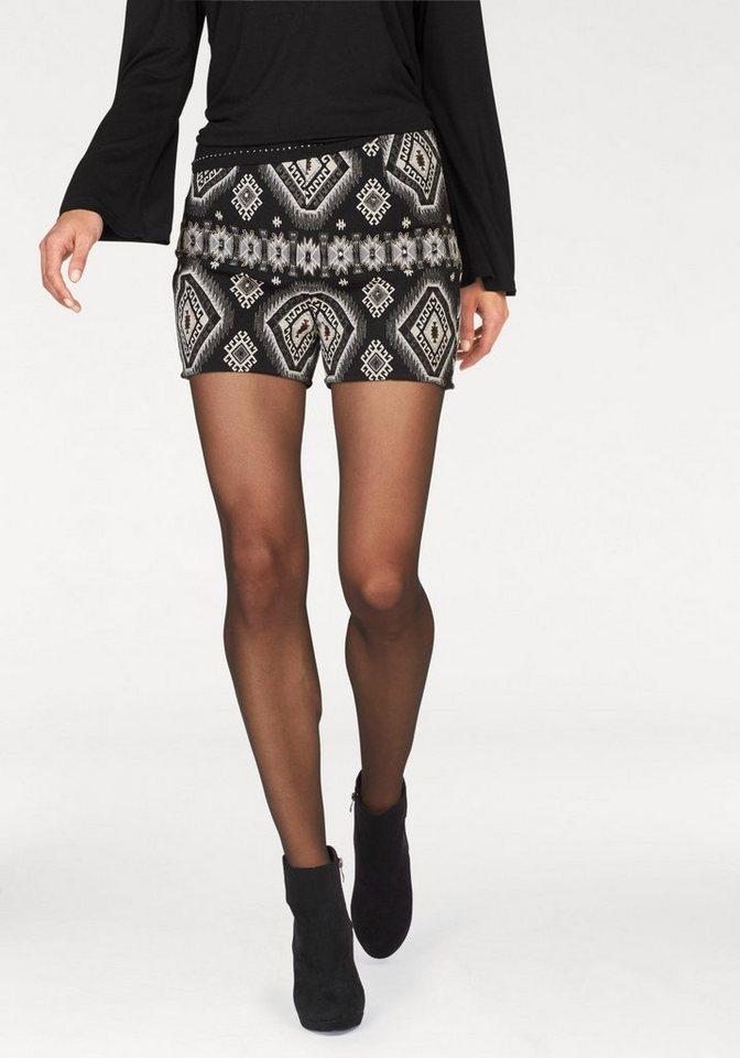 Aniston Shorts mit Zierperlen in schwarz-weiß