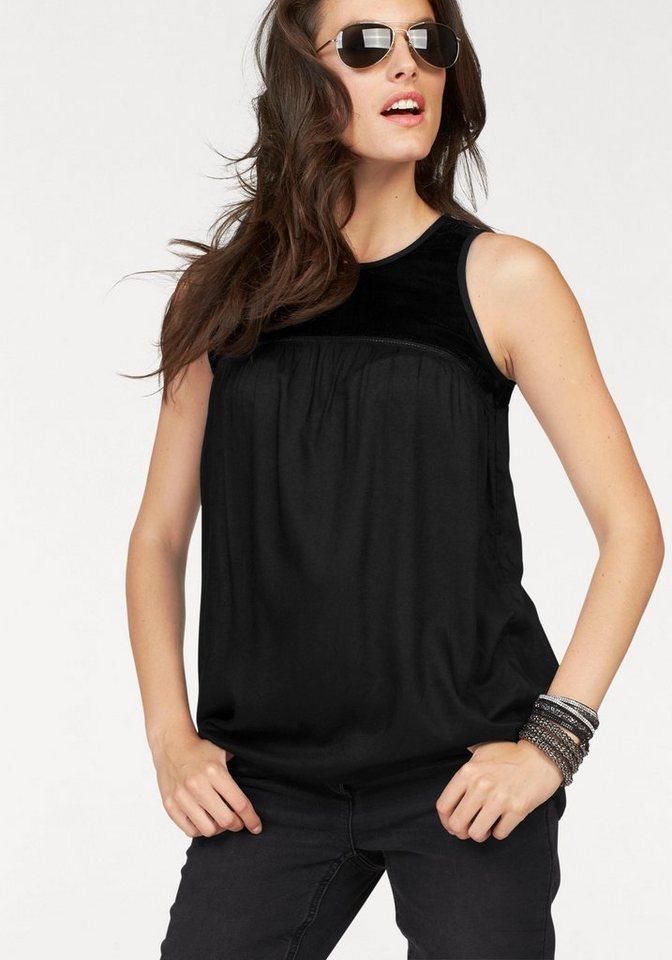 Aniston Blusentop mit Samteinsatz in schwarz