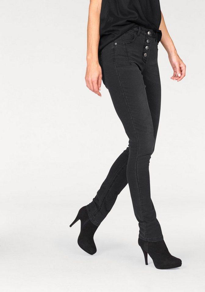 Aniston Röhrenjeans aus Sweatware in Denimoptik in schwarz